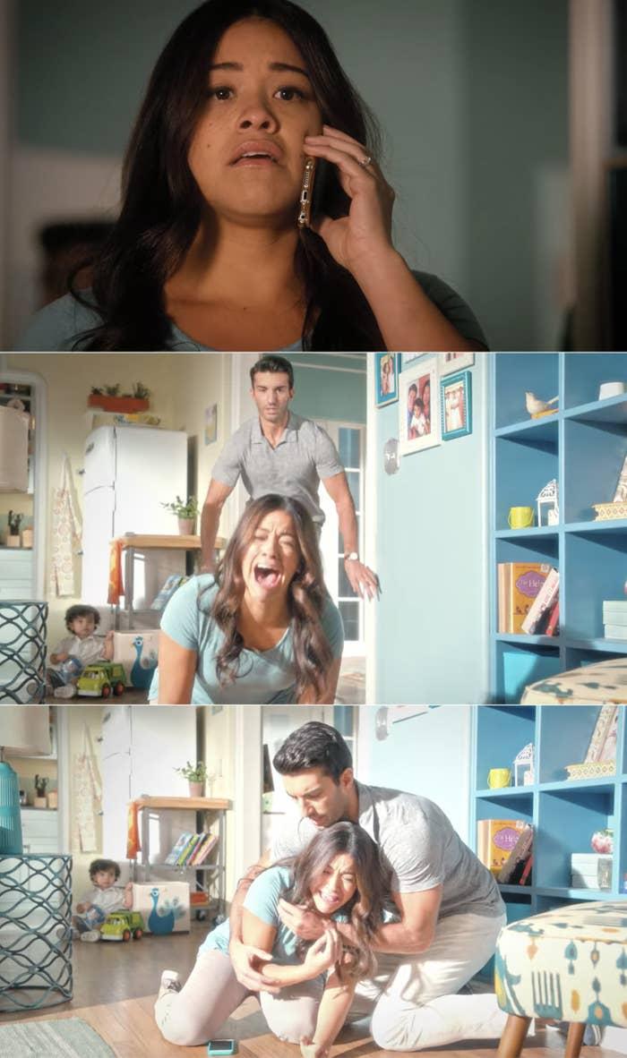 Jane collapsing into Rafael's arm and sobbing