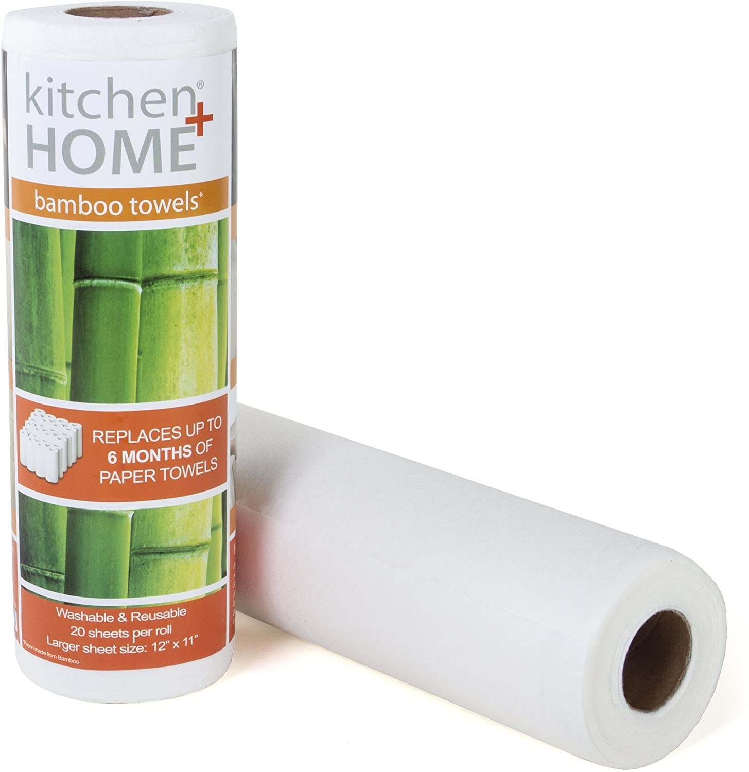 Product photo showing outside packaging as well as roll of bamboo towels