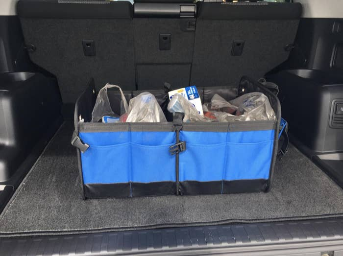 Reviewer image of the blue organizer in trunk holding various groceries