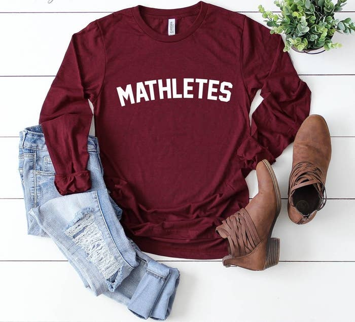 A long-sleeved shirt that says Mathlete across the chest