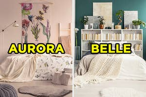 """On the left, a bright, sunny bedroom with a floral picture on the wall and a floor lamp labeled """"Aurora,"""" and on the right, a bedroom with a bookshelf behind the bed with various plants and paintings on top labeled """"Belle"""""""