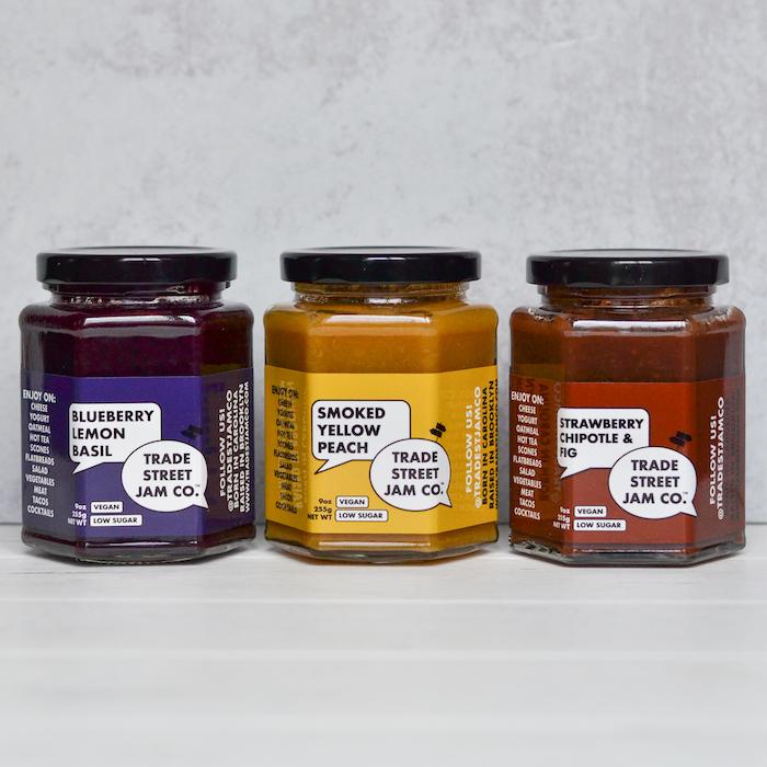 three small jars of jam