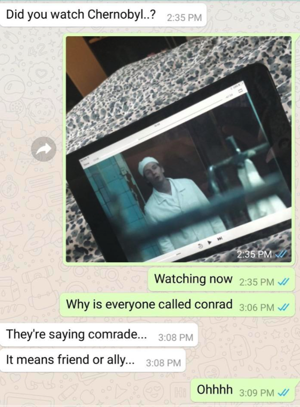 text where a person thinks russians characters are saying conrad when they are actually saying comrade