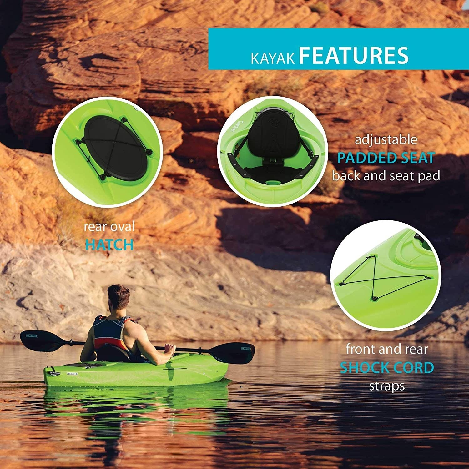 A graphic showing a person in the kayak and describing how the kayak also has shock cord straps and an oval hatch