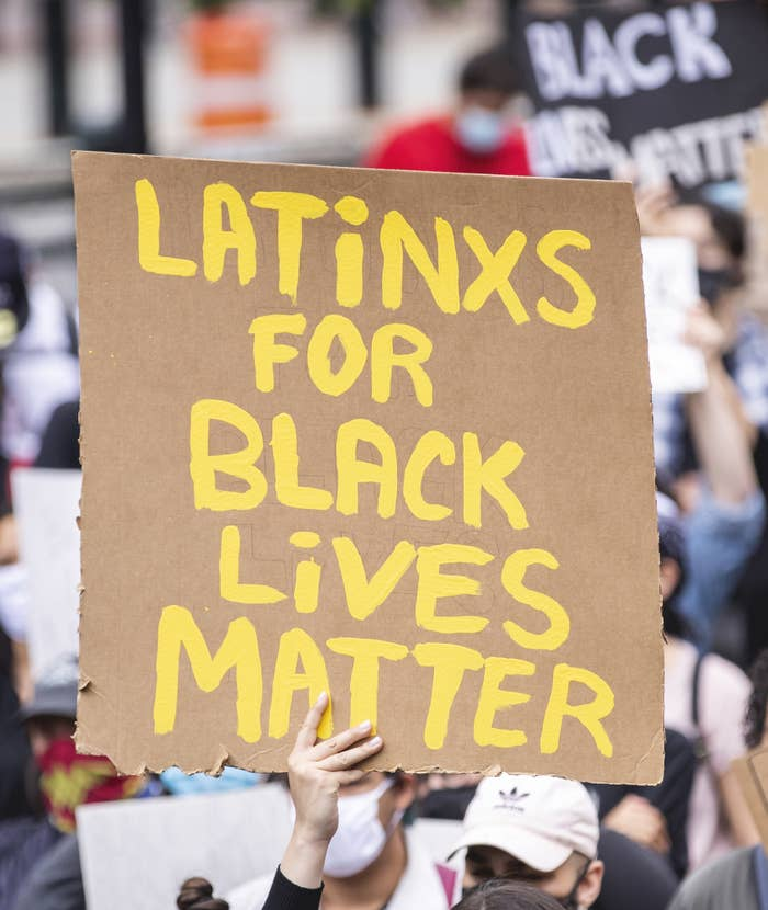 """A protest sign that says, """"Latinxs for Black Lives Matter"""""""