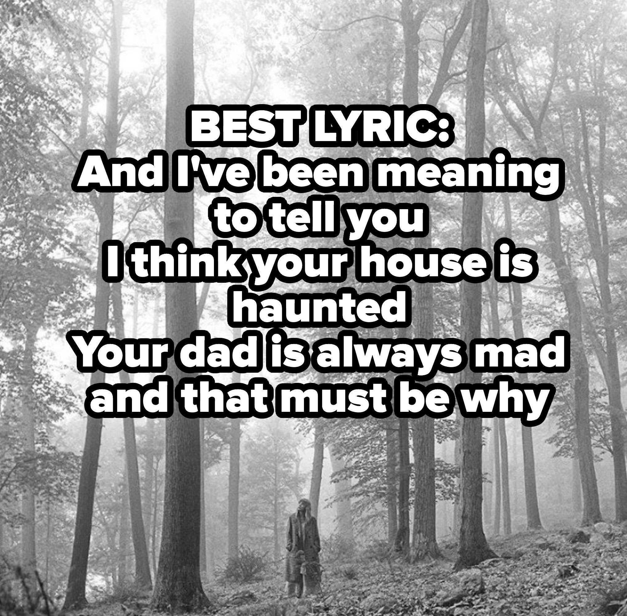 BEST LYRIC: And I've been meaning to tell you I think your house is haunted Your dad is always mad and that must be why