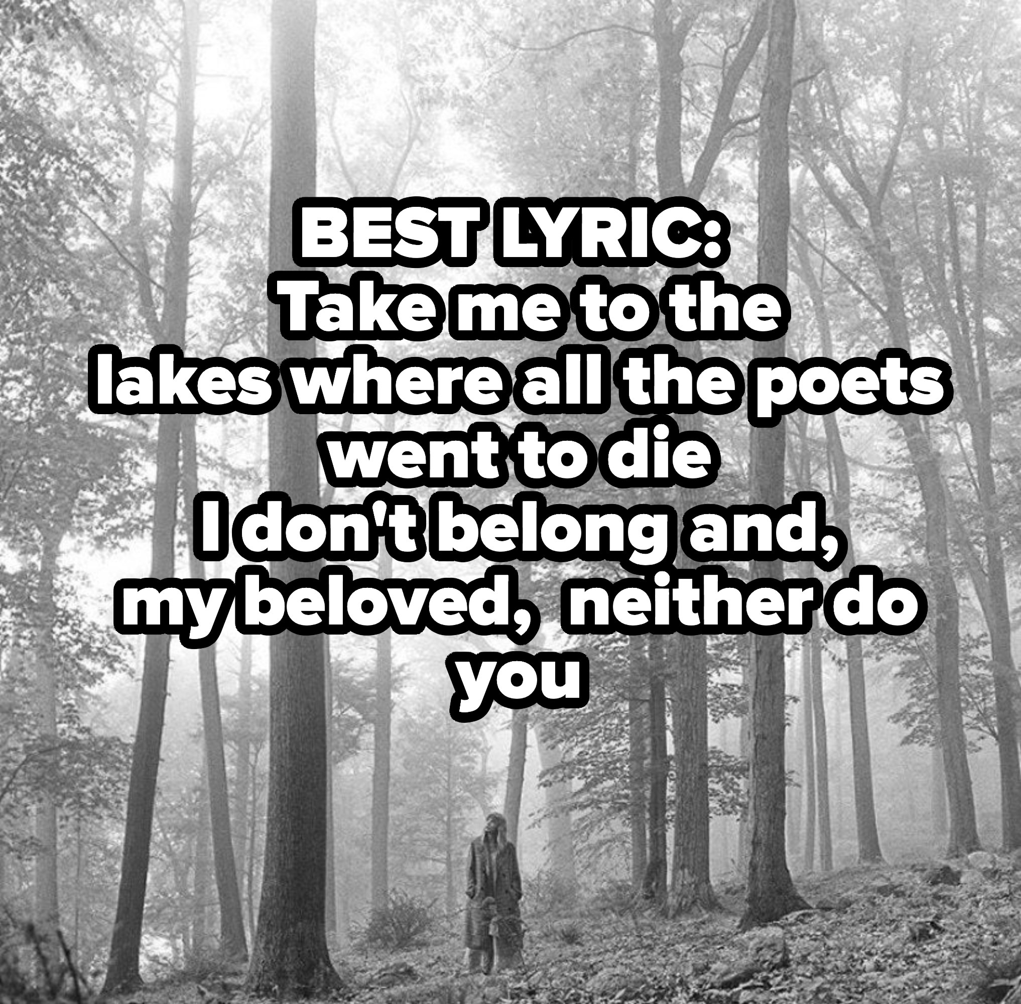 BEST LYRIC:   Take me to the Lakeswhere all the poets went to die I don't belong and, mybeloved, neither do you
