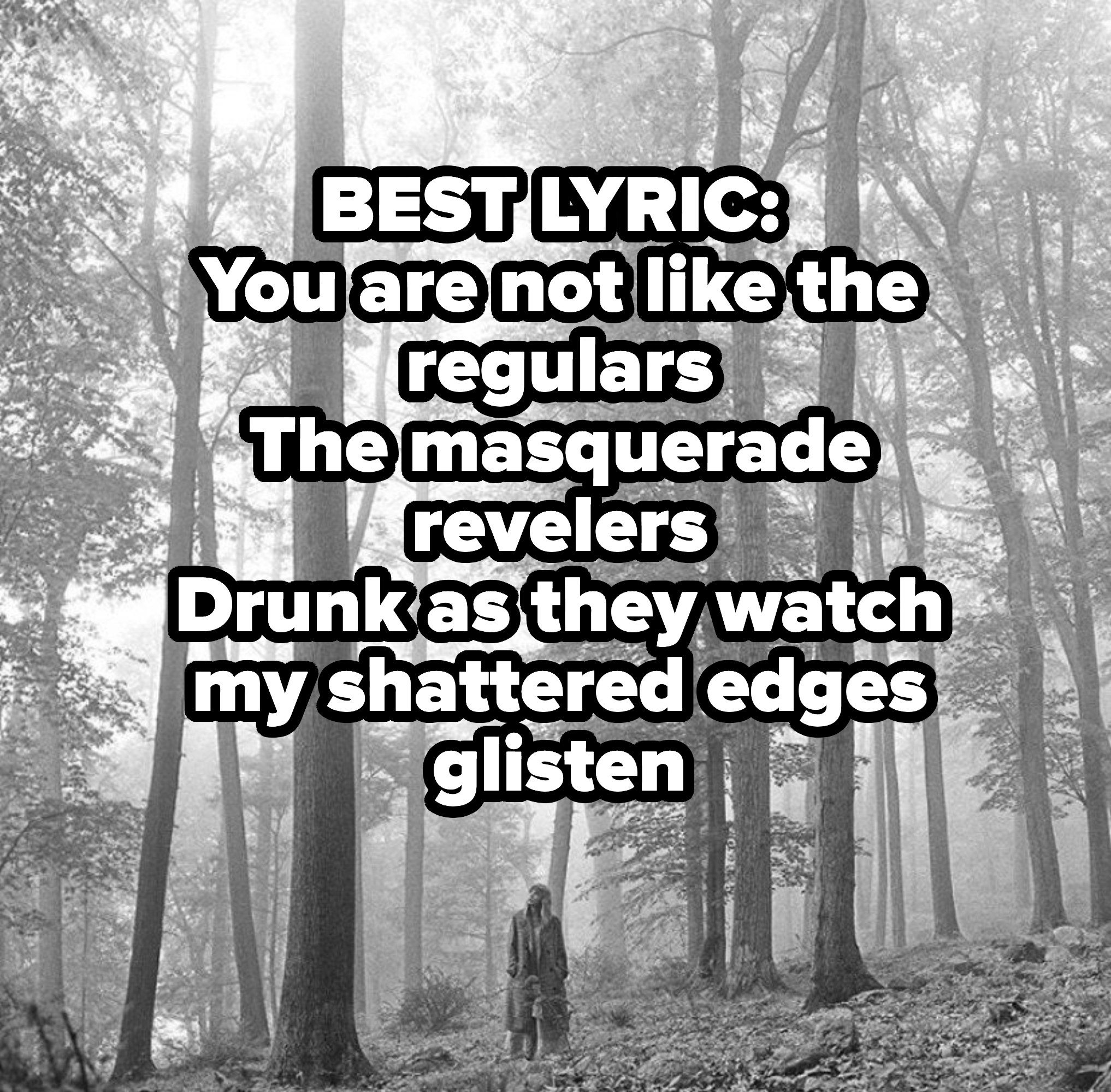 BEST LYRIC: You are not like the regulars The masquerade revelers Drunk as they watch my shattered edges glisten
