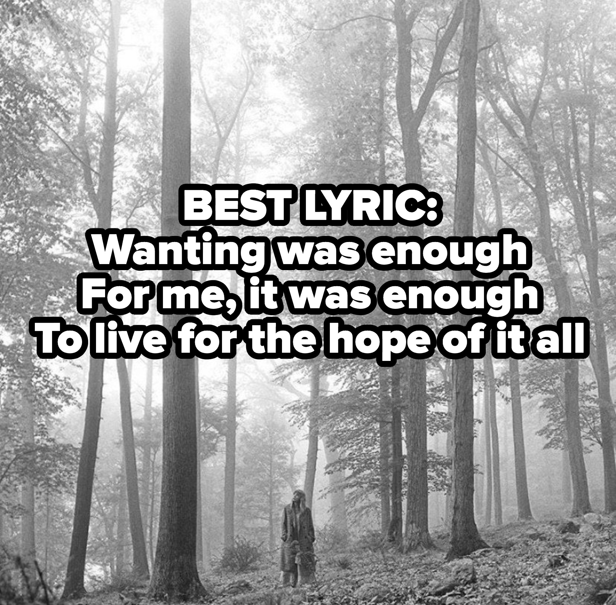 BEST LYRIC: Second, third, and hundredth chances Balancin' on breaking branches Those eyes add insult to injury