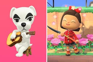 KK Slider playing the guitar and a ACNH player holding a shovel standing in front of some pink roses