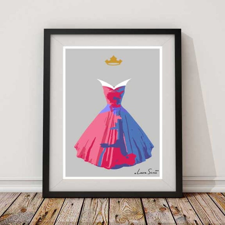 an illustration with half a pink dress and half a blue dress