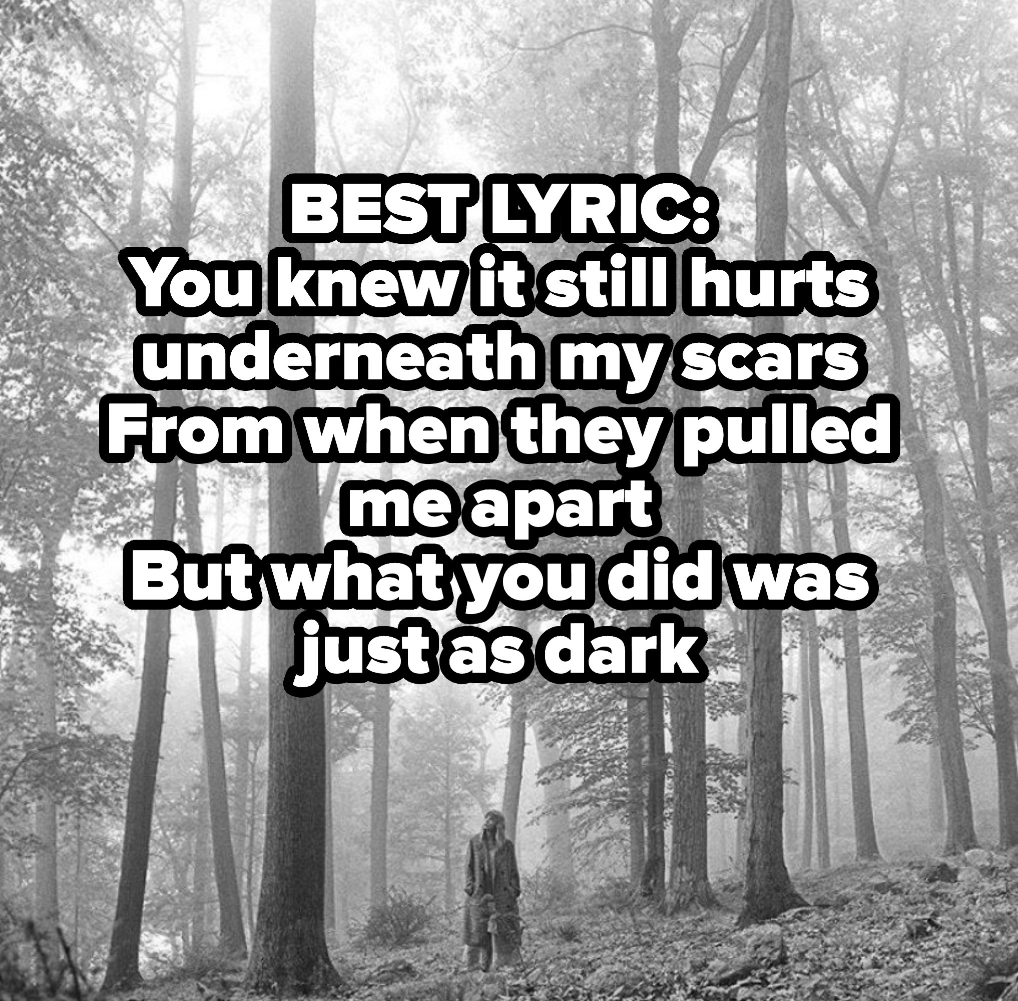 BEST LYRIC: You knew it still hurts underneath my scars From when they pulled me apart But what you did was just as dark