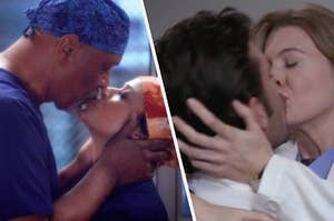 Richard and Catherine Avery kissing and Derek and Meredith kissing