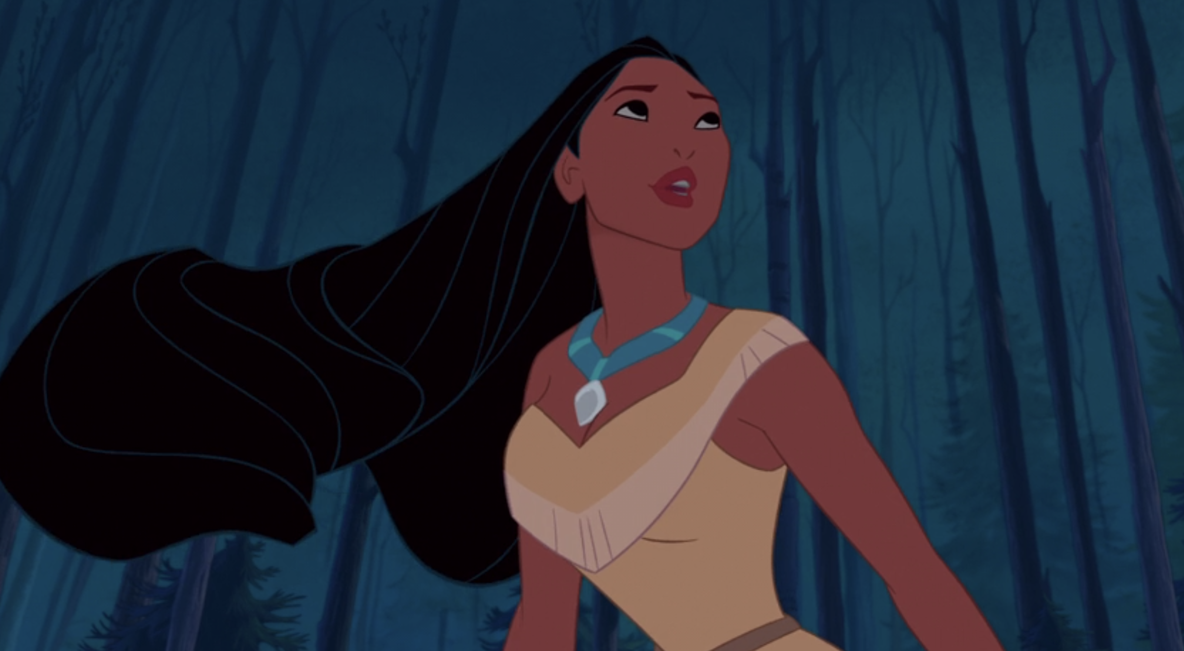 """Pocahontas singing """"Just Around the Riverbend"""" with the wind blowing through her hair"""