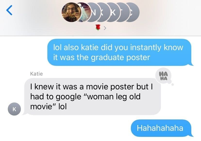 A text conversation with my group chat explaining what the poster is