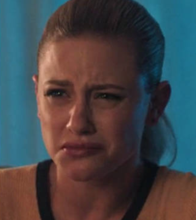 "Betty from ""Riverdale"" with a confused and disgusted face"