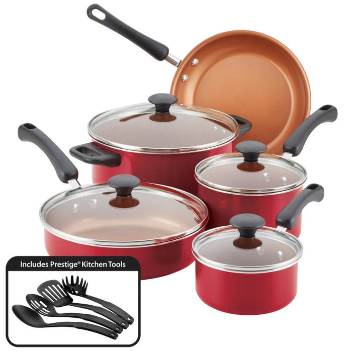red set of pots and pans from farberware