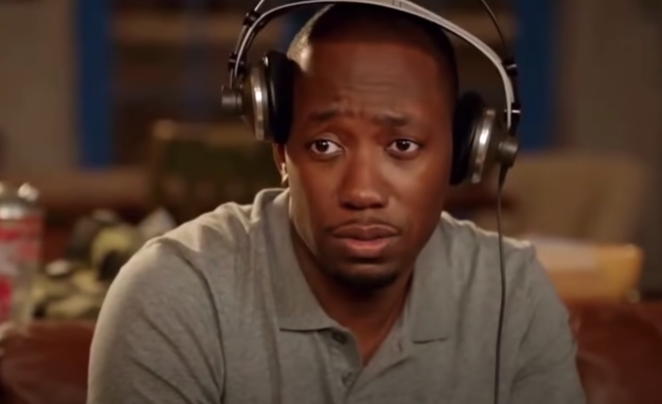 "Winston on ""New Girl"" looking confused."