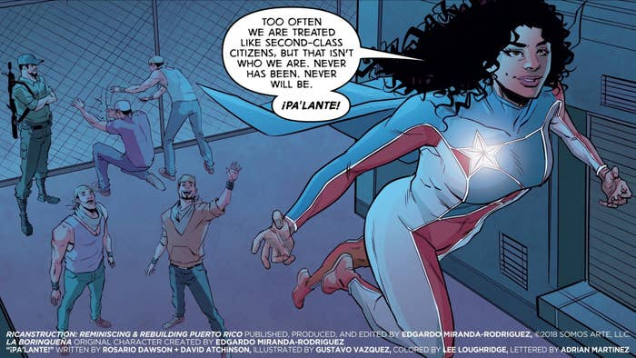 Comic illustration of character named Marisol Rios De La Luz, flying away with gratitude.