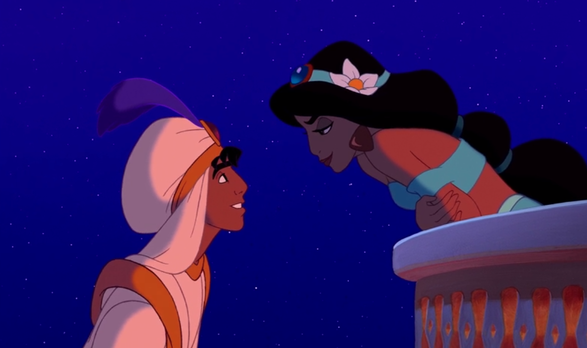 Jasmine on her balcony and Aladdin on his magic carpet staring longingly into each other's eyes