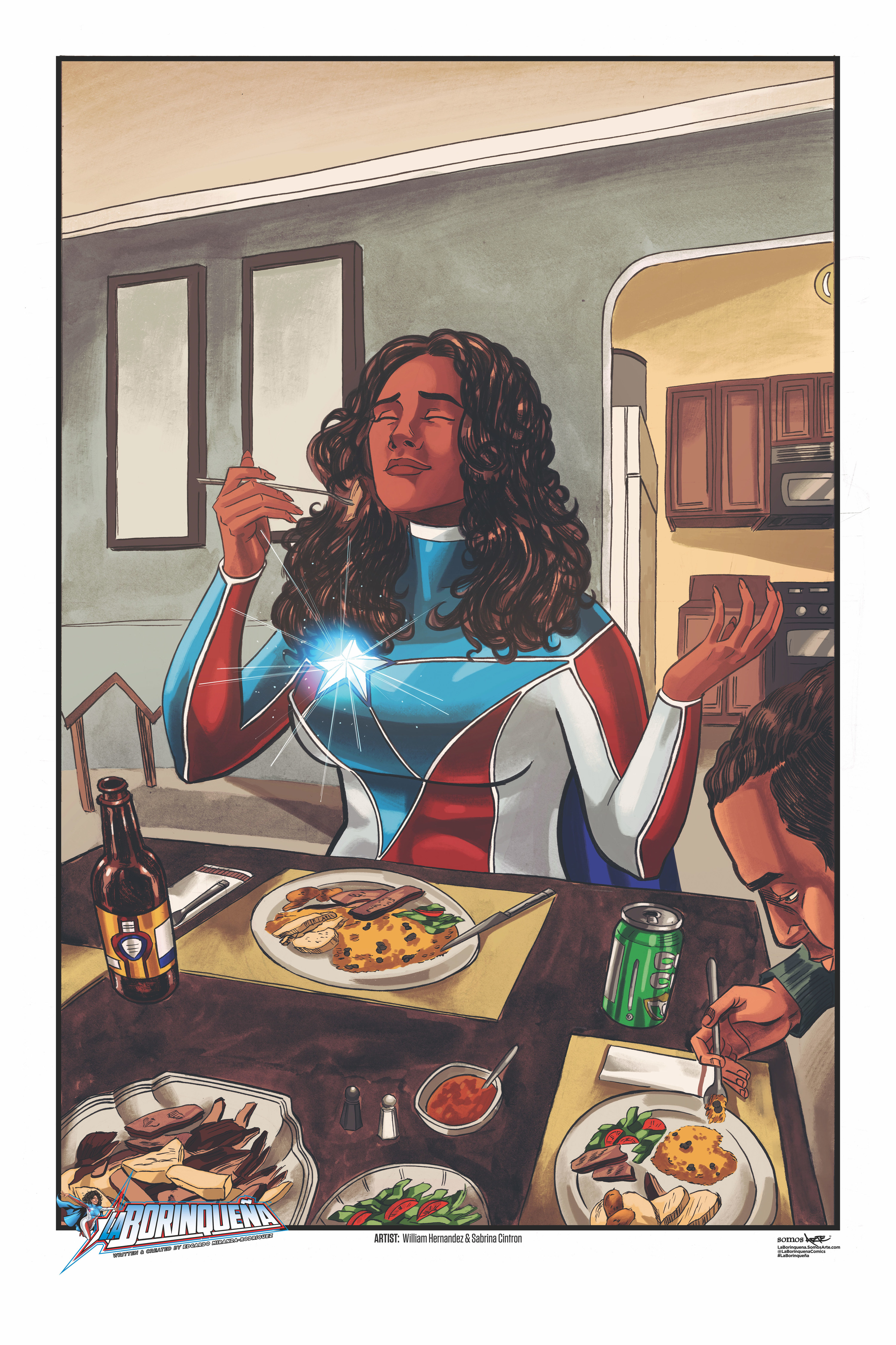 Comic illustration of character named Marisol Rios De La Luz eating at the diner table with someone else. She appears to look happy and content with her meal with her super hero cape on.