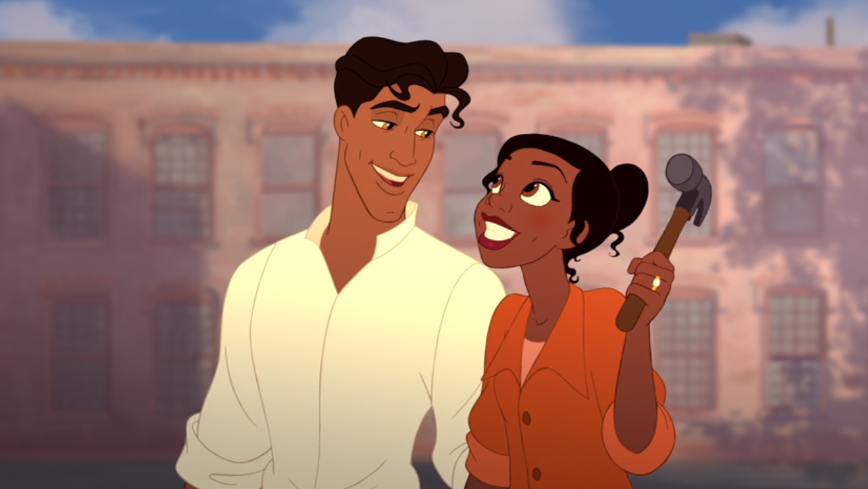 Tiana and Naveen with rolled-up sleeved ready to get to work on her restaurant