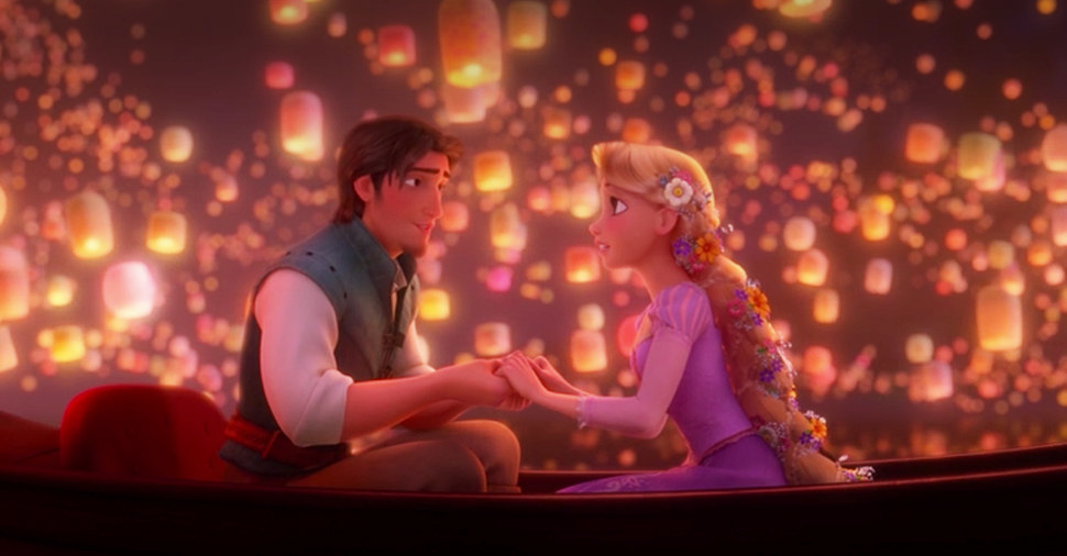 Rapunzel and Flynn Rider on their boat with the floating lanterns in the background