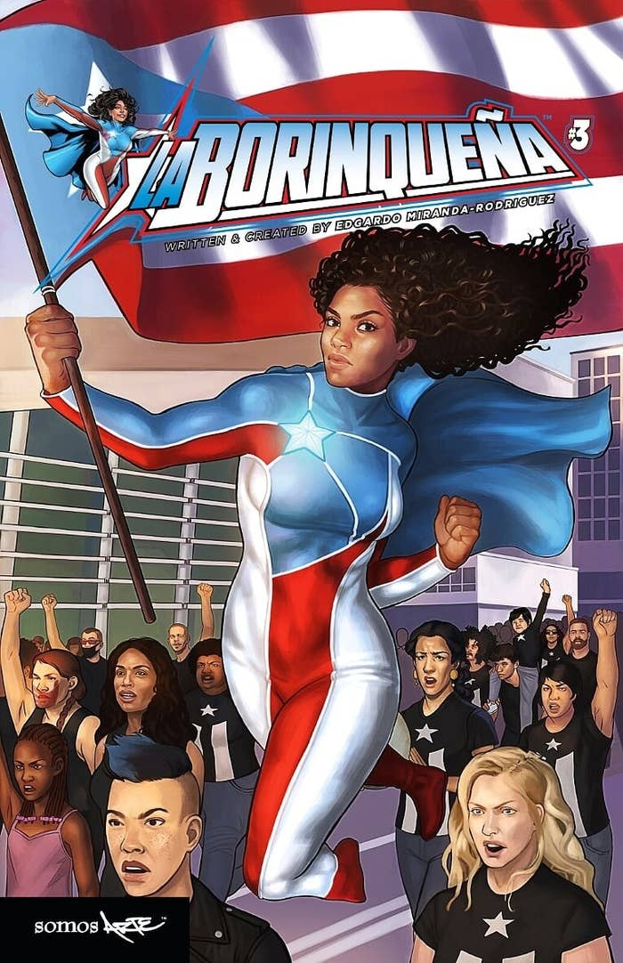 Comic illustration of character named Marisol Rios De La Luz, who is a Puerto Rican superhero, among protesters, on the cover of the comic book.