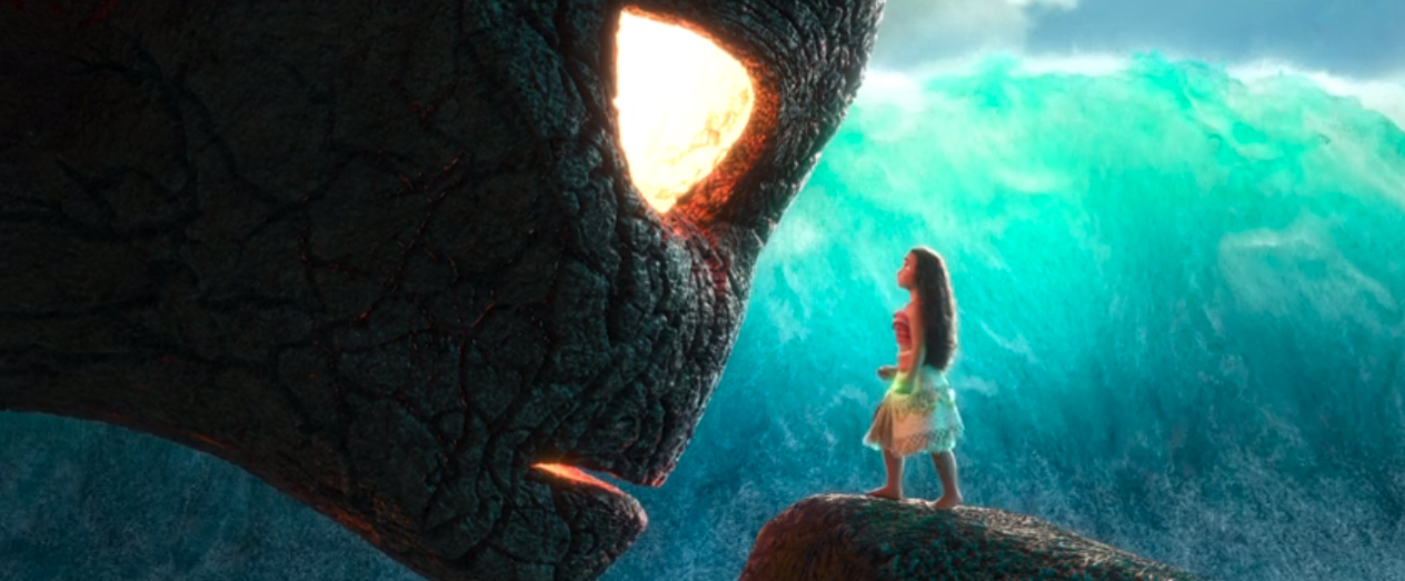 """Moana confronting Te Kā with the heart of Te Fiti in """"Moana"""""""