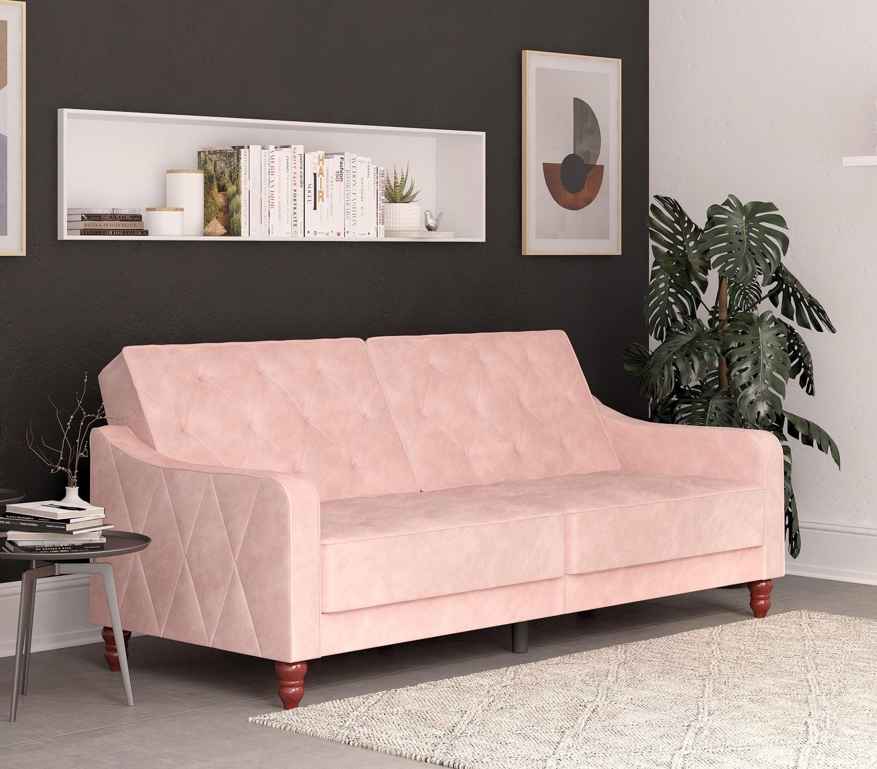 pink velvet sofa bed