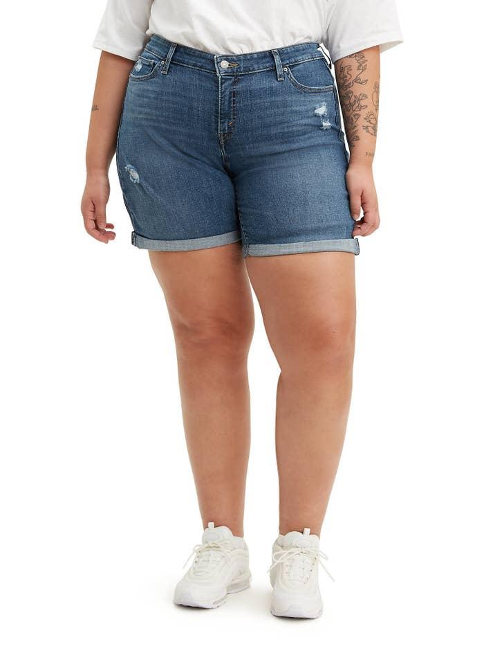 model in jean shorts