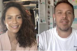Lesley-Ann Brandt and Kevin Alejandro on a zoom call
