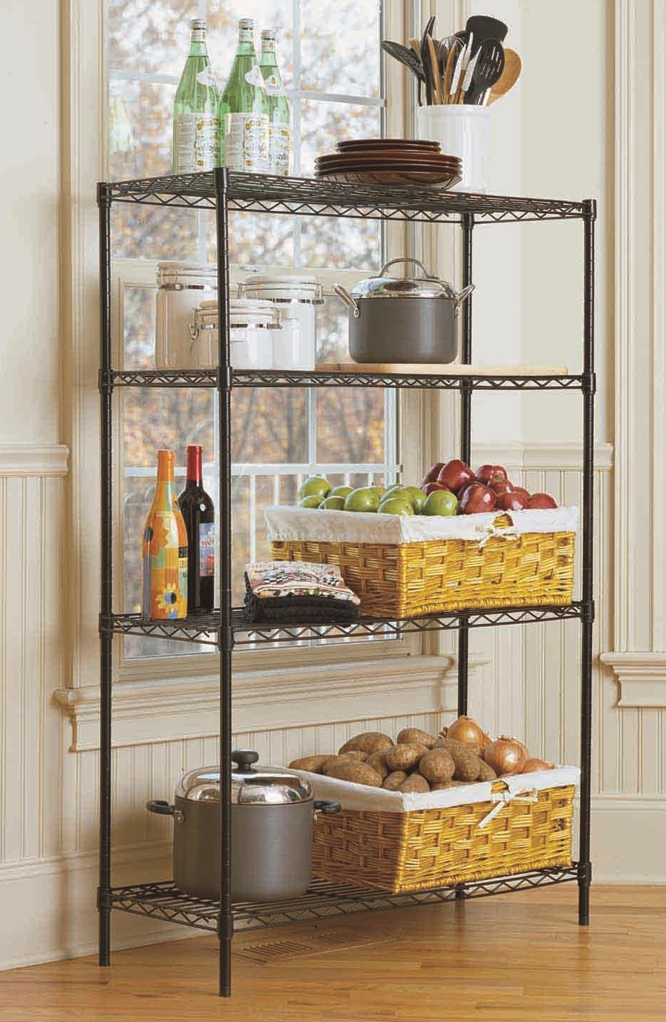 four tier shelving unit in kitchen