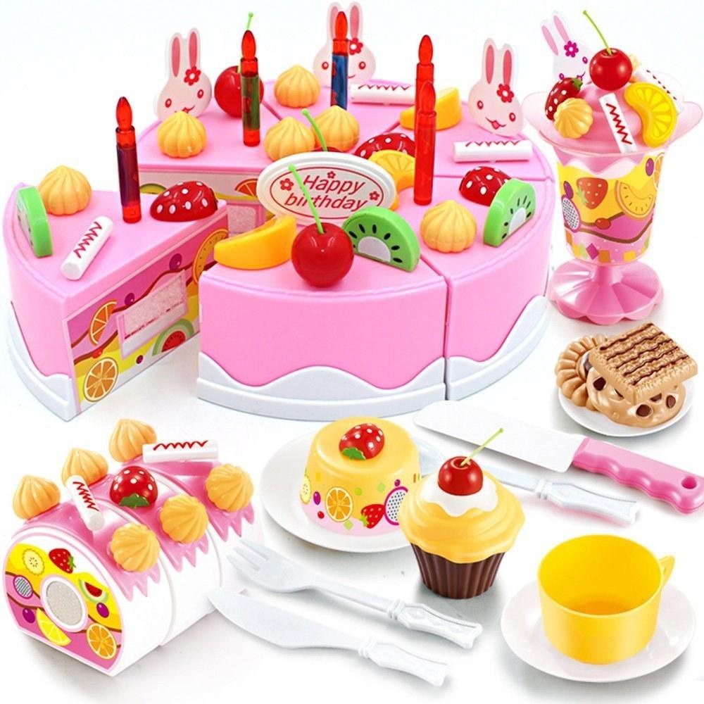 75 piece set of toy food birthday cake