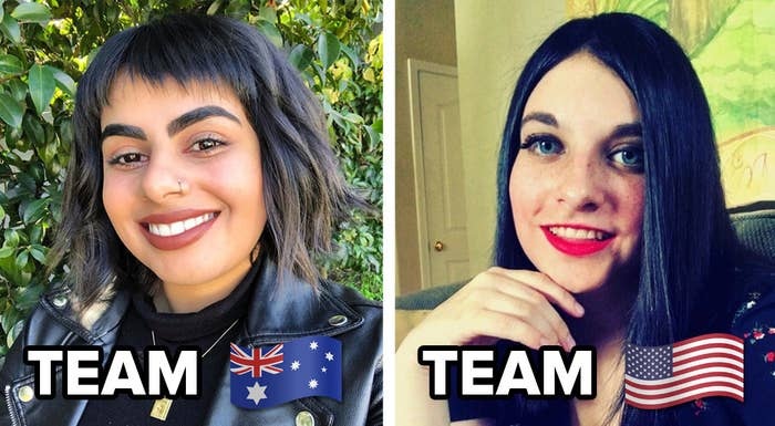 """Side by side of BuzzFeeders Isha Bassi and Kelly Martinez; Isha's side is captioned """"Team Australia"""" and Kelly's """"Team USA"""""""