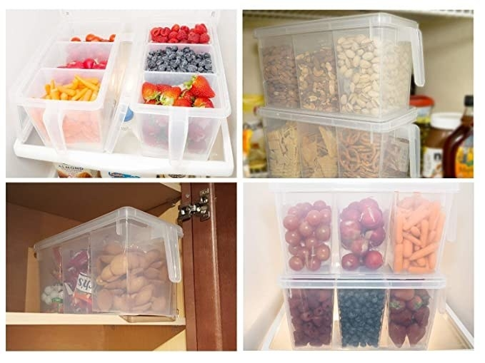 Transparent containers with handles.