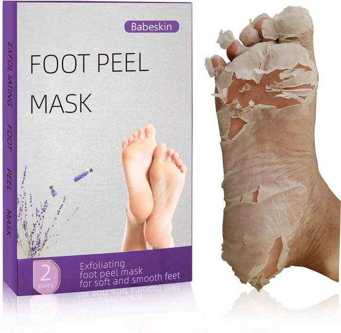 A pair of feet with the mask booties on