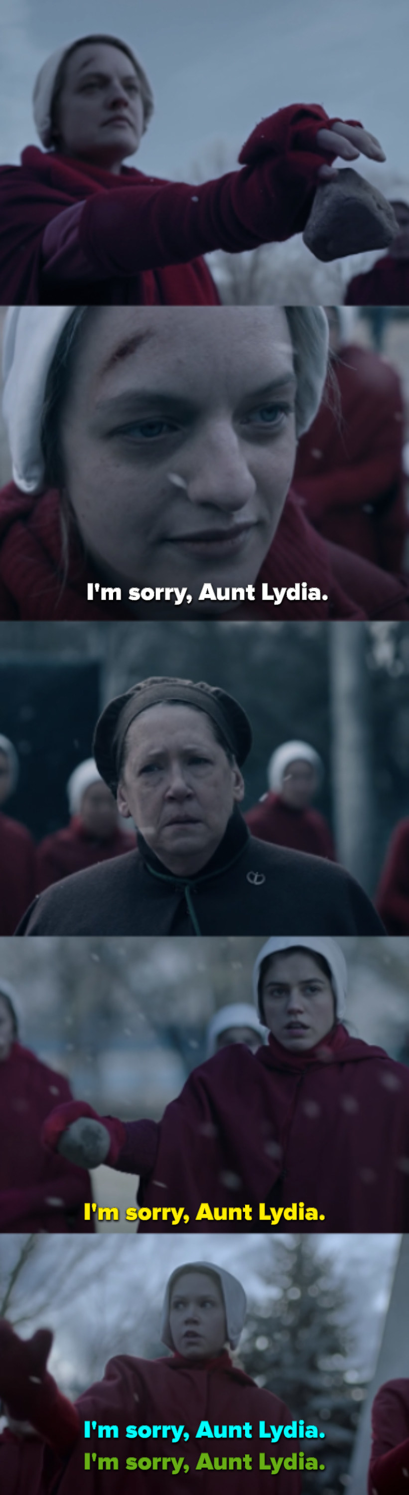 June drops her rock and says she's sorry to Aunt Lydia, then the other girls follow suit