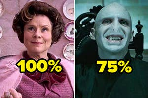 Dolores Umbridge with a 100% and Voldemort with a 75%