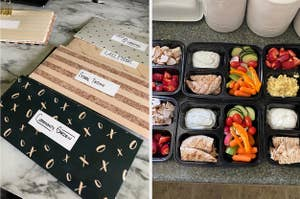 Budget envelopes and meal prep containers