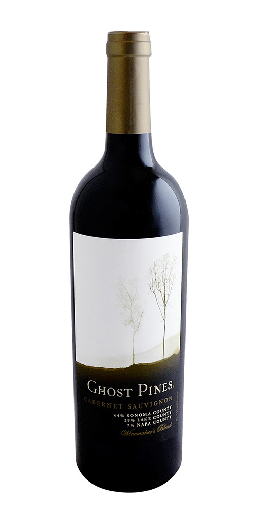 A bottle of red wine, Ghost Pines Cabernet Sauvignon.