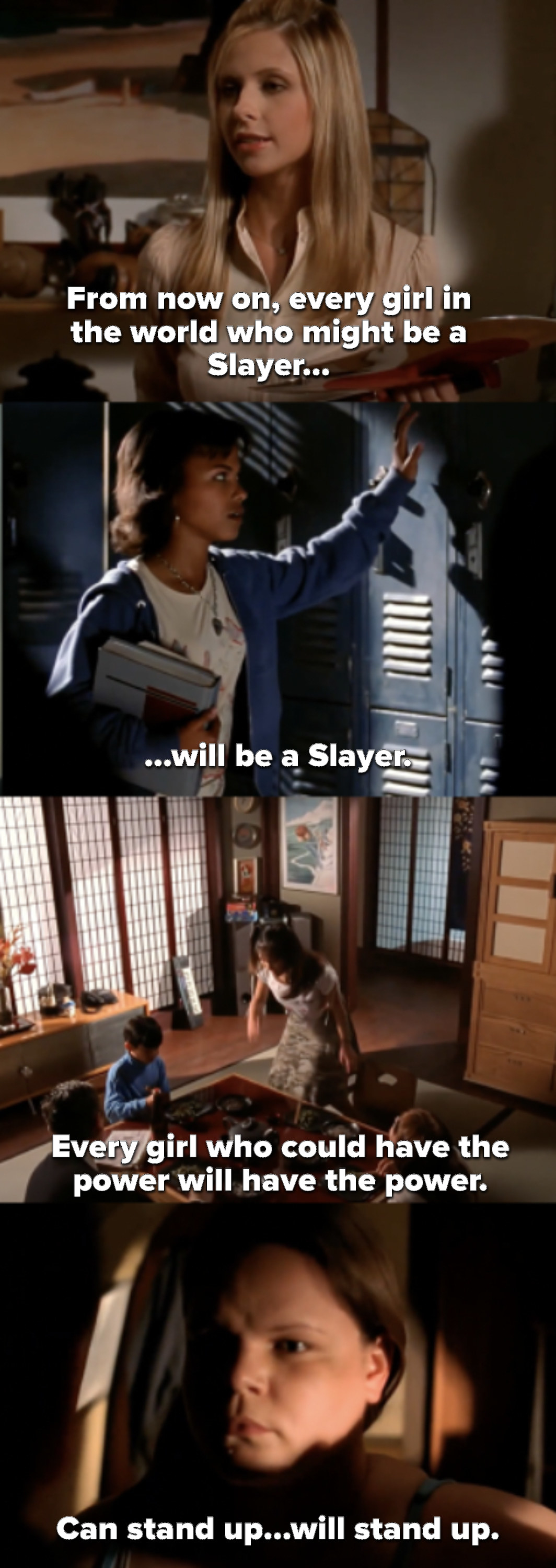 Buffy says from now on, every girl who could be a Slayer will, as we see young girls standing up for themselves