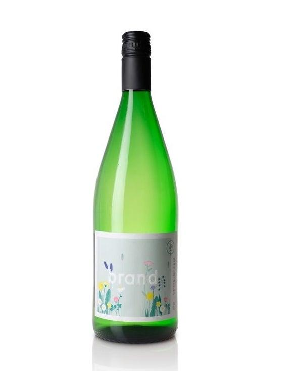 A bottle of white wine, Brand Weissburgunder Pfalz 2018.