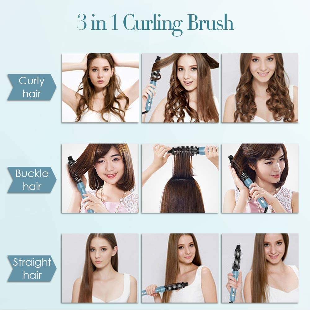 Three models demonstrate results from the brush, showing curly hair, curled-under hair, and straight hair