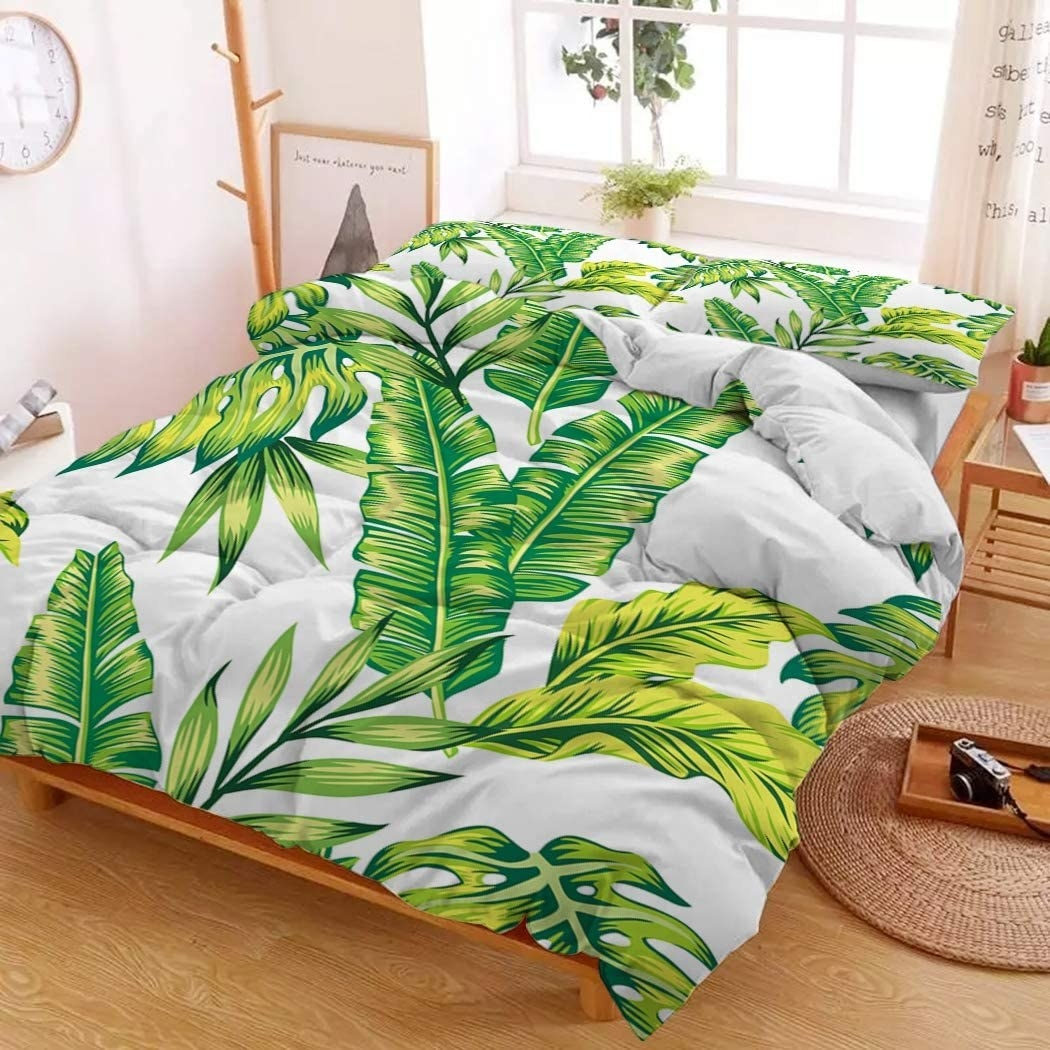 A matching pillow and comforter set