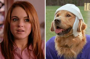 Cady Heron from Mean Girls and Airbud the dog