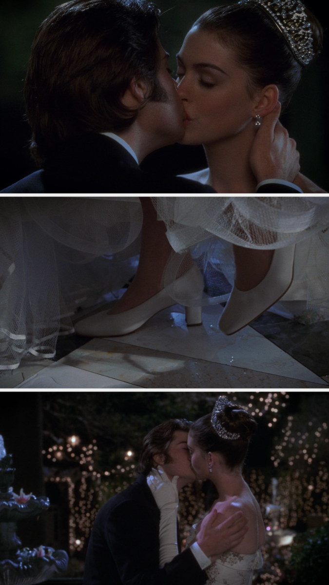 Mia and Michael kissing until her foot pops and kicks the switch for the romantic lights