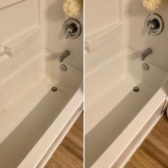 Reviewer's before-and-after photo of dirty, brown tub and then clean tub