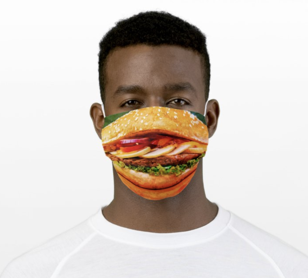 Model in face mask that looks like a burger