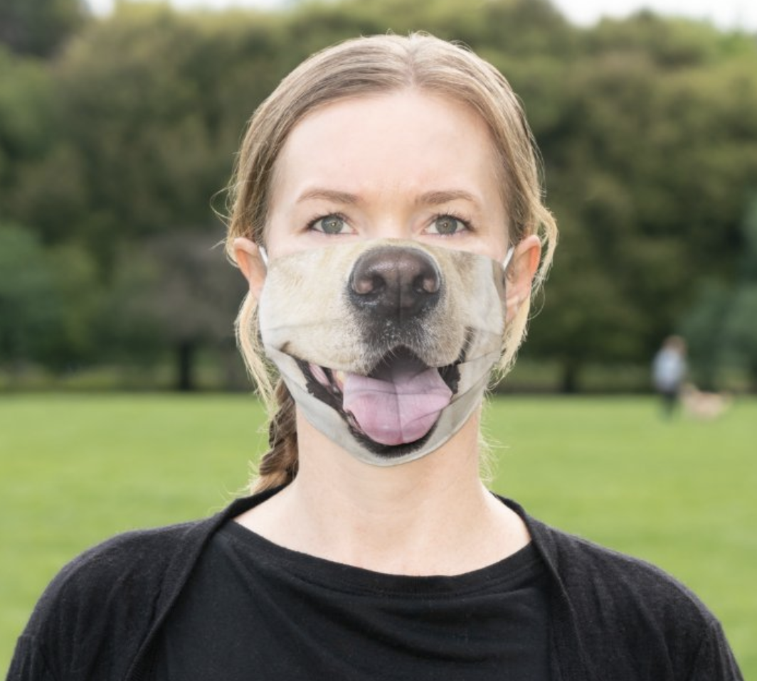 Model in a dog mouth face mask